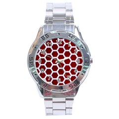Hexagon2 White Marble & Red Grunge Stainless Steel Analogue Watch by trendistuff