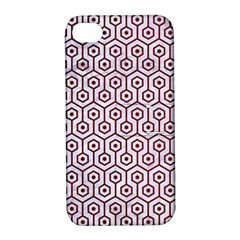 Hexagon1 White Marble & Red Grunge (r) Apple Iphone 4/4s Hardshell Case With Stand by trendistuff