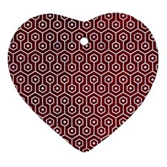 Hexagon1 White Marble & Red Grunge Ornament (heart) by trendistuff