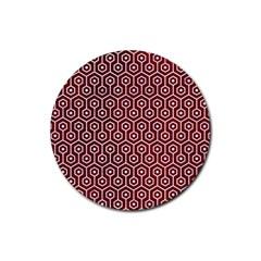Hexagon1 White Marble & Red Grunge Rubber Coaster (round)  by trendistuff