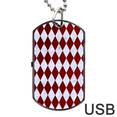 Diamond1 White Marble & Red Grunge Dog Tag Usb Flash (one Side) by trendistuff