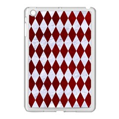Diamond1 White Marble & Red Grunge Apple Ipad Mini Case (white) by trendistuff