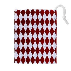 Diamond1 White Marble & Red Grunge Drawstring Pouches (extra Large)