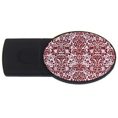 Damask2 White Marble & Red Grunge (r) Usb Flash Drive Oval (4 Gb) by trendistuff
