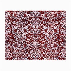 Damask2 White Marble & Red Grunge Small Glasses Cloth by trendistuff