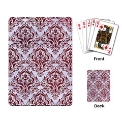 Damask1 White Marble & Red Grunge (r) Playing Card by trendistuff