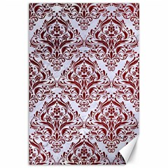 Damask1 White Marble & Red Grunge (r) Canvas 12  X 18   by trendistuff