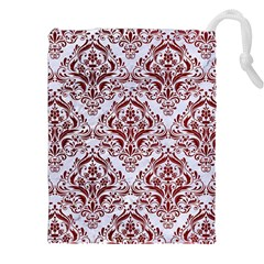 Damask1 White Marble & Red Grunge (r) Drawstring Pouches (xxl) by trendistuff