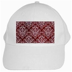 Damask1 White Marble & Red Grunge White Cap by trendistuff