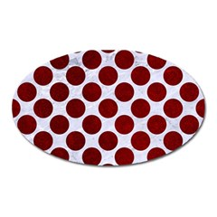 Circles2 White Marble & Red Grunge (r) Oval Magnet by trendistuff