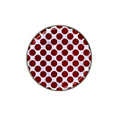 Circles2 White Marble & Red Grunge (r) Hat Clip Ball Marker (4 Pack) by trendistuff