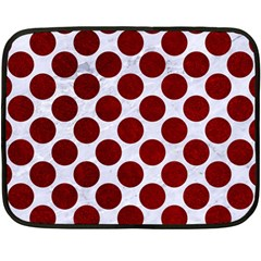 Circles2 White Marble & Red Grunge (r) Fleece Blanket (mini) by trendistuff
