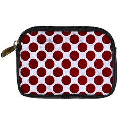 Circles2 White Marble & Red Grunge (r) Digital Camera Cases by trendistuff