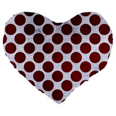 Circles2 White Marble & Red Grunge (r) Large 19  Premium Heart Shape Cushions by trendistuff