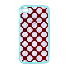 Circles2 White Marble & Red Grunge Apple Iphone 4 Case (color) by trendistuff
