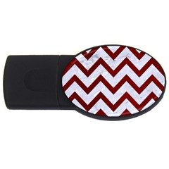 Chevron9 White Marble & Red Grunge (r) Usb Flash Drive Oval (4 Gb)