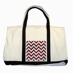 Chevron9 White Marble & Red Grunge (r) Two Tone Tote Bag by trendistuff