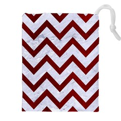 Chevron9 White Marble & Red Grunge (r) Drawstring Pouches (xxl) by trendistuff