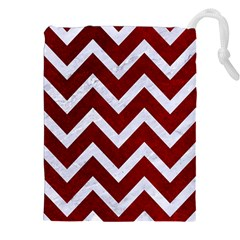 Chevron9 White Marble & Red Grunge Drawstring Pouches (xxl) by trendistuff