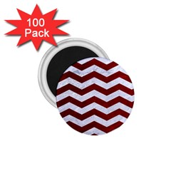 Chevron3 White Marble & Red Grunge 1 75  Magnets (100 Pack)