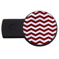 Chevron3 White Marble & Red Grunge Usb Flash Drive Round (2 Gb) by trendistuff