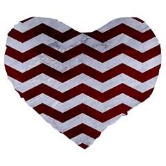 Chevron3 White Marble & Red Grunge Large 19  Premium Flano Heart Shape Cushions by trendistuff