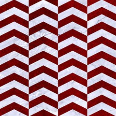 Chevron2 White Marble & Red Grunge Magic Photo Cubes by trendistuff
