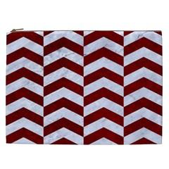 Chevron2 White Marble & Red Grunge Cosmetic Bag (xxl)  by trendistuff