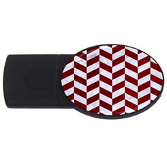 Chevron1 White Marble & Red Grunge Usb Flash Drive Oval (2 Gb) by trendistuff