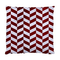 Chevron1 White Marble & Red Grunge Standard Cushion Case (two Sides) by trendistuff