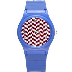 Chevron1 White Marble & Red Grunge Round Plastic Sport Watch (s) by trendistuff