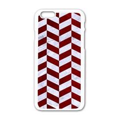Chevron1 White Marble & Red Grunge Apple Iphone 6/6s White Enamel Case by trendistuff