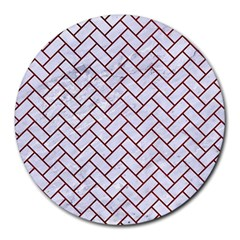 Brick2 White Marble & Red Grunge (r) Round Mousepads by trendistuff