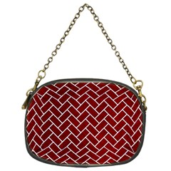 Brick2 White Marble & Red Grunge Chain Purses (two Sides)  by trendistuff