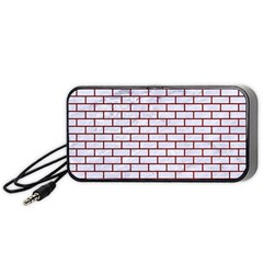 Brick1 White Marble & Red Grunge (r) Portable Speaker by trendistuff