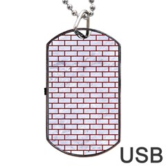 Brick1 White Marble & Red Grunge (r) Dog Tag Usb Flash (two Sides) by trendistuff
