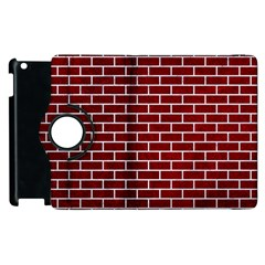 Brick1 White Marble & Red Grunge Apple Ipad 3/4 Flip 360 Case by trendistuff