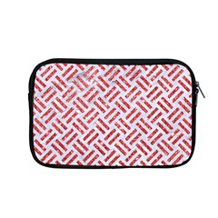 Woven2 White Marble & Red Glitter (r) Apple Macbook Pro 13  Zipper Case by trendistuff