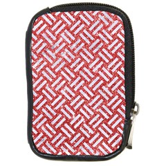 Woven2 White Marble & Red Glitter Compact Camera Cases by trendistuff