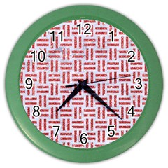 Woven1 White Marble & Red Glitter (r) Color Wall Clocks by trendistuff