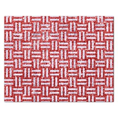 Woven1 White Marble & Red Glitter Rectangular Jigsaw Puzzl by trendistuff