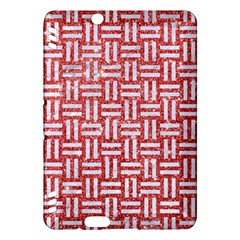 Woven1 White Marble & Red Glitter Kindle Fire Hdx Hardshell Case by trendistuff