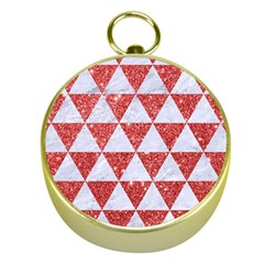 Triangle3 White Marble & Red Glitter Gold Compasses by trendistuff