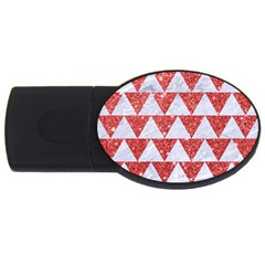 Triangle2 White Marble & Red Glitter Usb Flash Drive Oval (4 Gb)