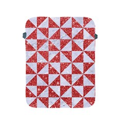 Triangle1 White Marble & Red Glitter Apple Ipad 2/3/4 Protective Soft Cases by trendistuff