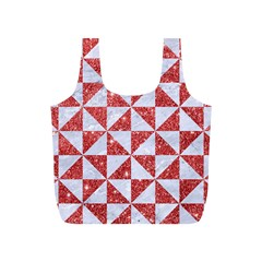 Triangle1 White Marble & Red Glitter Full Print Recycle Bags (s)  by trendistuff
