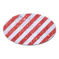 Stripes3 White Marble & Red Glitter (r) Oval Magnet by trendistuff