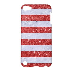 Stripes2white Marble & Red Glitter Apple Ipod Touch 5 Hardshell Case by trendistuff