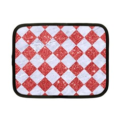 Square2 White Marble & Red Glitter Netbook Case (small)  by trendistuff