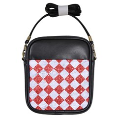 Square2 White Marble & Red Glitter Girls Sling Bags by trendistuff